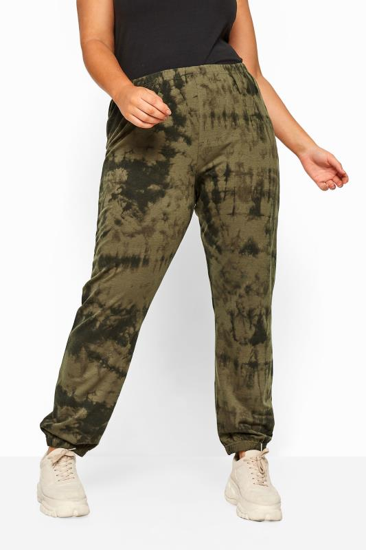 Plus Size Joggers LIMITED COLLECTION Khaki Tie Dye Joggers