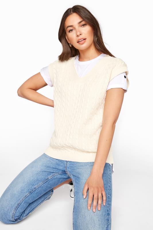 LTS Cream Cable Knit Vest