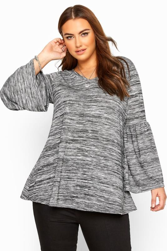 Plus Size Knitted Tops Grey Marl Wide Flute Sleeve Knitted Top