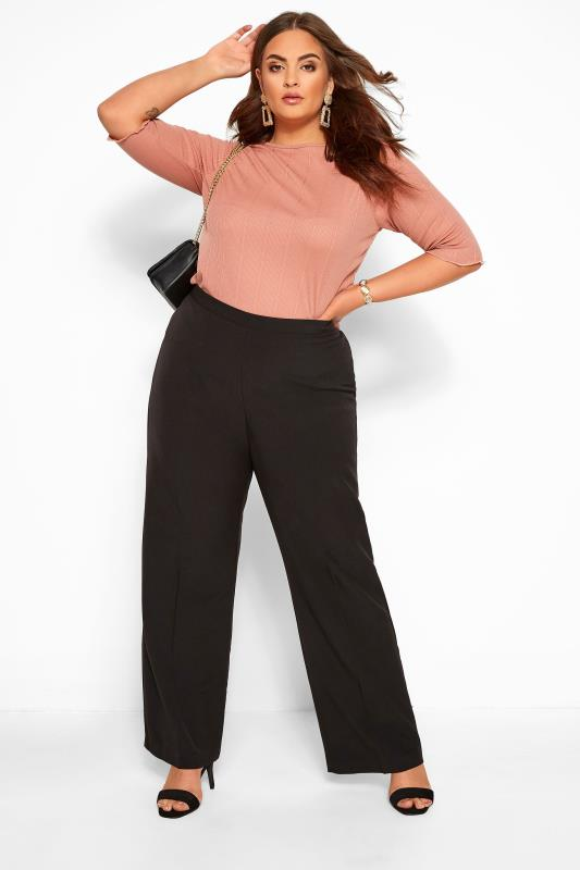 Plus Size Straight Leg Trousers Black Classic Straight Leg Trousers With Elasticated Waistband