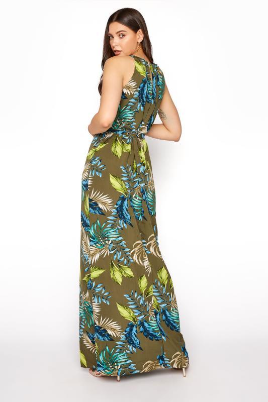 Khaki Leaf Print Halterneck Maxi Dress_C.jpg