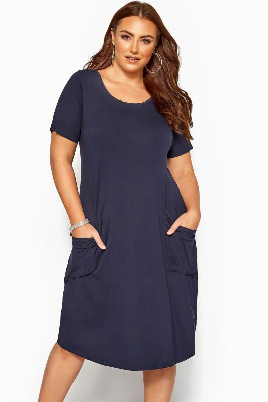 Großen Größen Casual Dresses SUSTAINABLE ORGANIC Navy Drape Pocket Dress