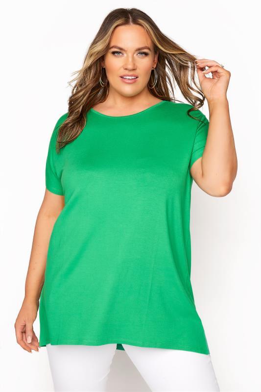 Plus Size  Emerald Green Grown On Short Sleeve T-shirt