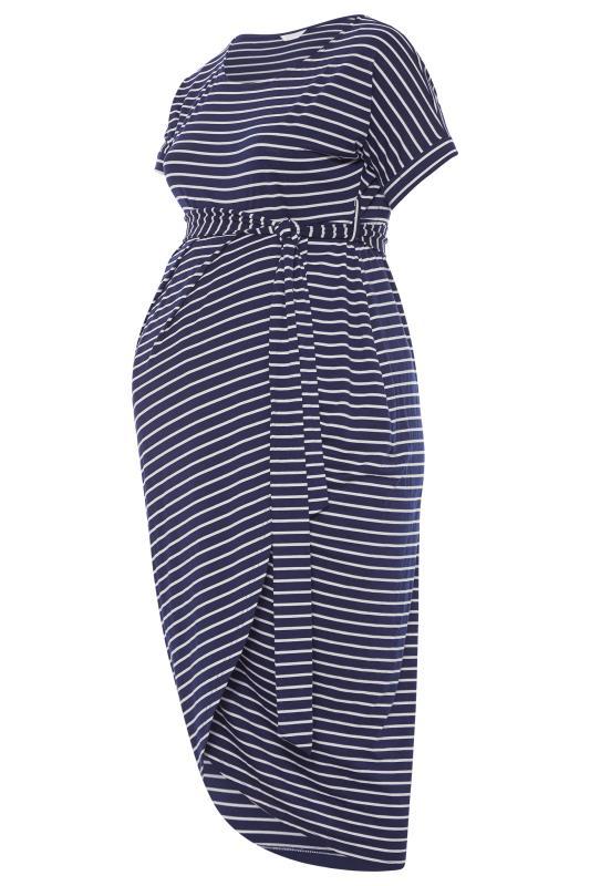 BUMP IT UP MATERNITY Navy & White Stripe Tie Waist Wrap Dress_F.jpg
