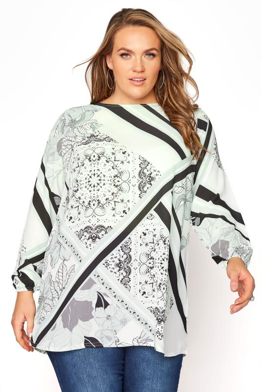 Plus Size  YOURS LONDON Green Scarf Print Blouse