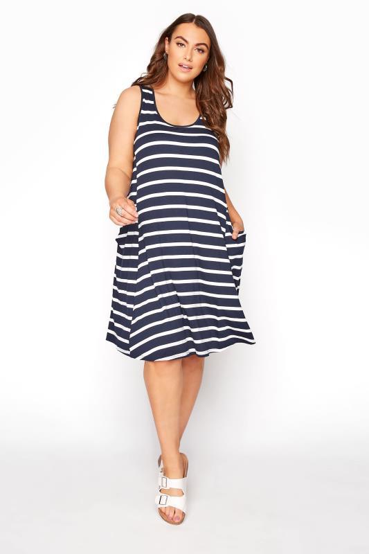 Navy Stripe Drape Pocket Dress_A.jpg