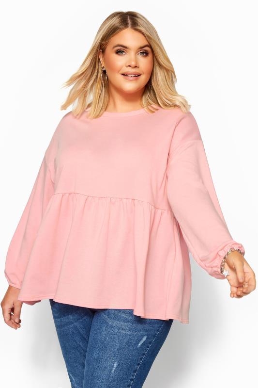Plus Size Sweatshirts & Hoodies Pink Peplum Sweatshirt