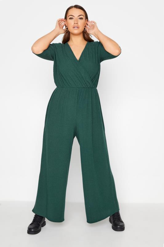 Plus Size  LIMITED COLLECTION Forest Green Ribbed Wrap Jumpsuit