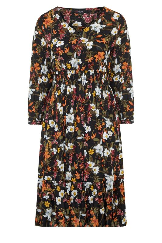 Black Floral Turn Back Sleeve Midi Dress_f.jpg