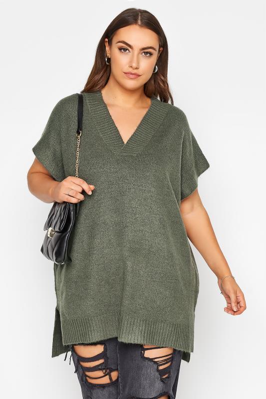 Großen Größen  Khaki Longline Knitted Vest