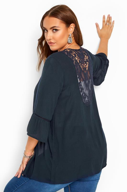 Plus Size Kimonos Navy Crochet Cover Up