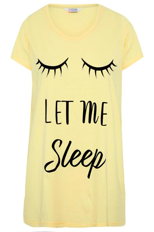 Yellow 'Let Me Sleep' Dipped Back Pyjama Top_F.jpg