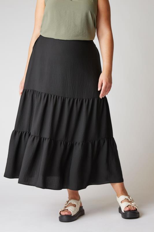 THE LIMITED EDIT Black Tiered Smock Maxi Skirt_B.jpg
