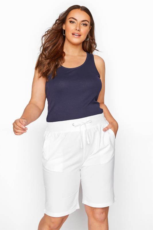 Plus Size  White Cool Cotton Shorts