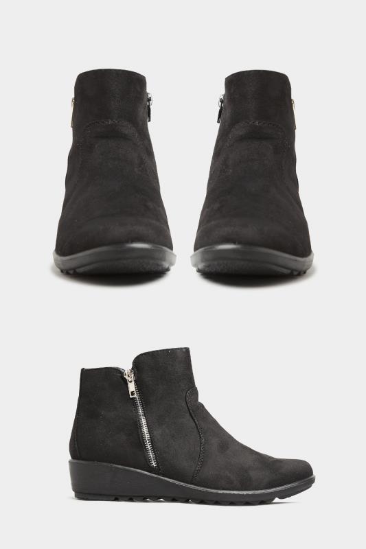 Black Vegan Suede Wedge Heel Ankle Boots In Extra Wide Fit_split.jpg