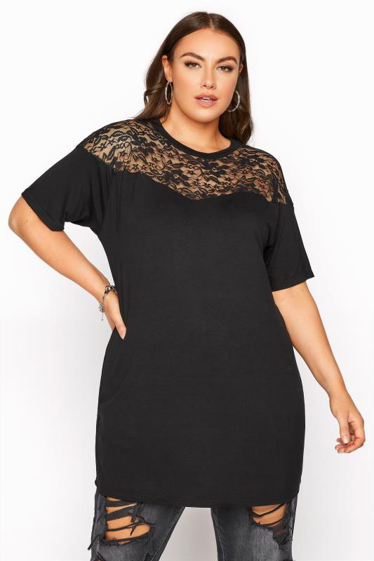 LIMITED COLLECTION Black Lace Yoke T-Shirt_A.jpg
