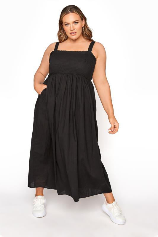 LIMITED COLLECTION Black Shirred Bust Strappy Dress