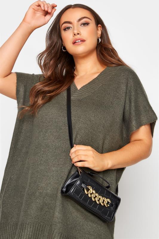 Black Croc & Gold Chain Mini Bag