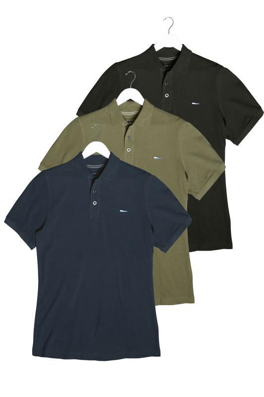 Men's  BadRhino Multi 3 Pack Plain Polo Shirts