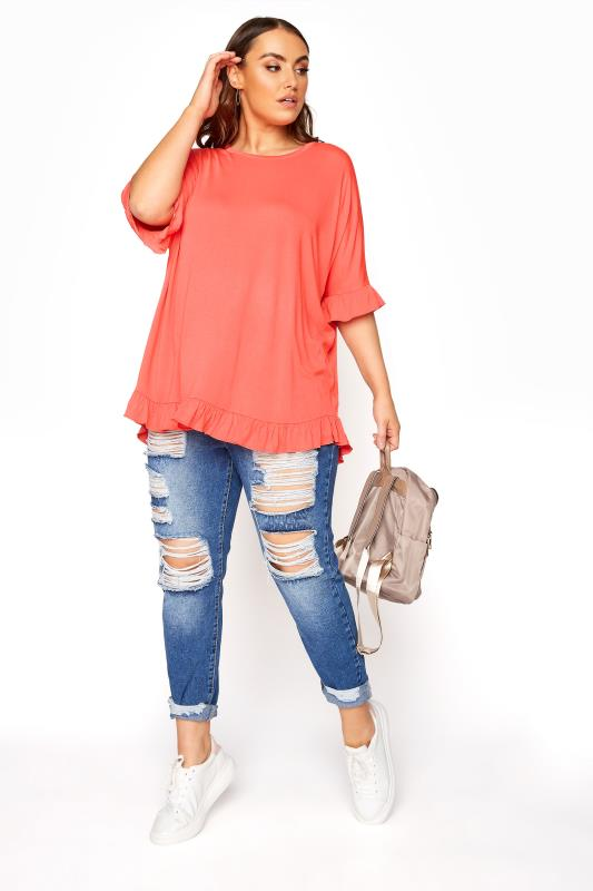 LIMITED COLLECTION Coral Oversized Frill Jersey T-Shirt