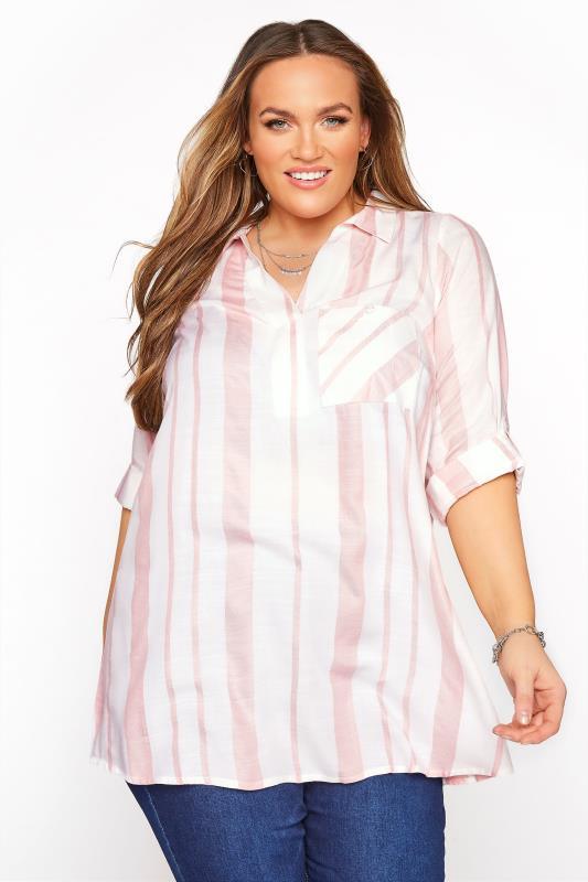 Plus Size  Blush Stripe Overhead Shirt