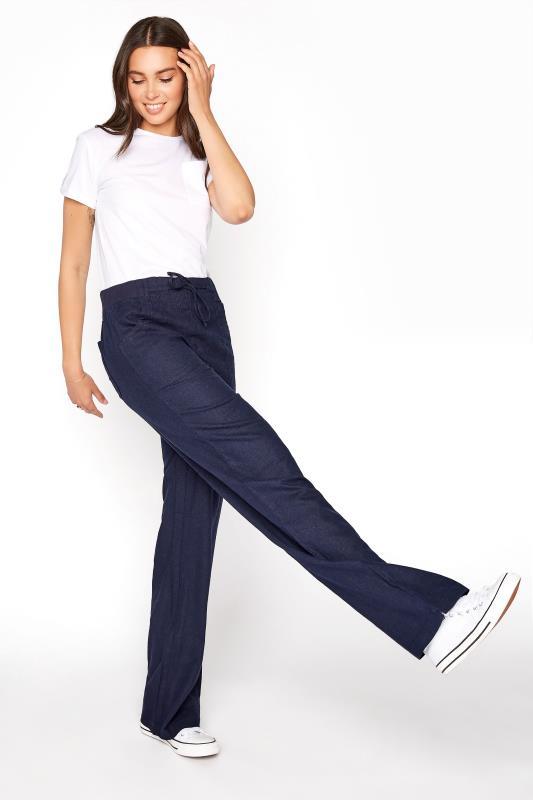 LTS Navy Linen Blend Wide Leg Trousers