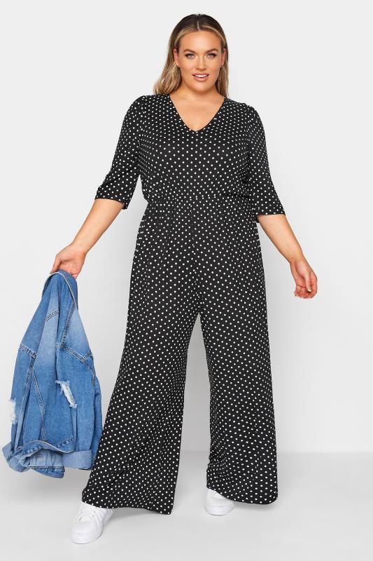 Großen Größen  LIMITED COLLECTION Black Polka Dot Jumpsuit