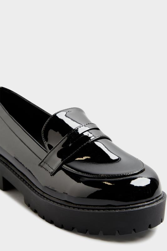 Black Patent Chunky Loafers In Extra Wide Fit_E.jpg