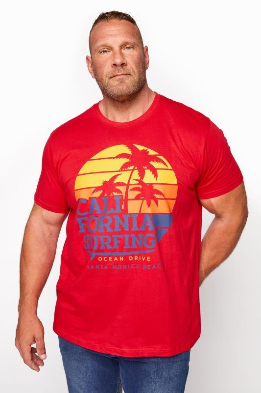 BadRhino Red California Surfing T-Shirt