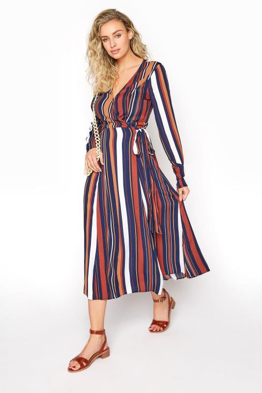 Tall Wrap Dress Navy Stripe Print Wrap Midi Dress