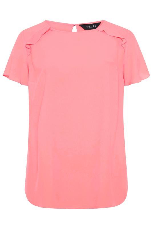 Tallas Grandes Pink Angel Sleeve Frill Shoulder Tunic