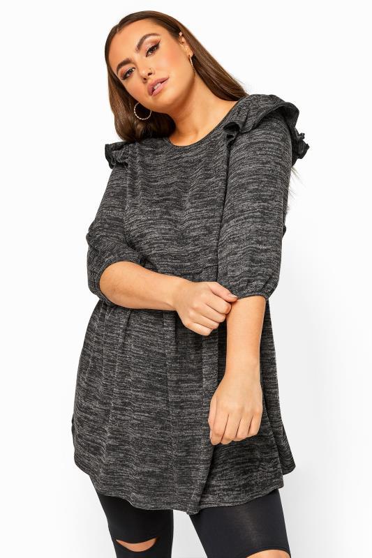 Charcoal Grey Marl Frill Knitted Peplum Top_A.jpg