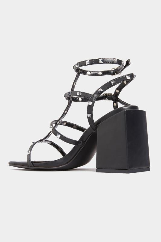 LIMITED COLLECTION Black Faux Leather Stud Heeled Sandals In Extra Wide Fit