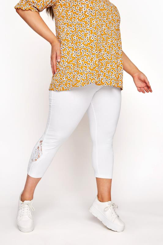 White Lace Embroidered Cropped Leggings