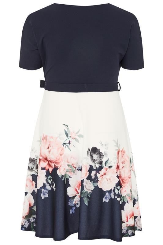 YOURS LONDON Navy & White Floral Border Wrap Dress