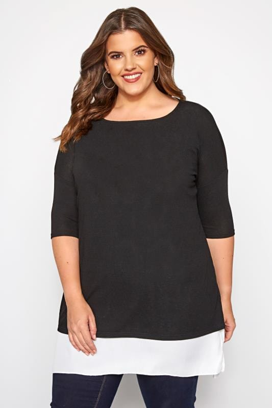 Plus Size 2 In 1 Tops YOURS LONDON Black Double Layered Fine Knit Top