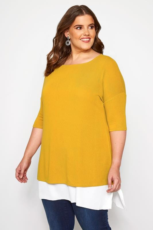 Plus Size 2 In 1 Tops YOURS LONDON Mustard Double Layered Fine Knit Top
