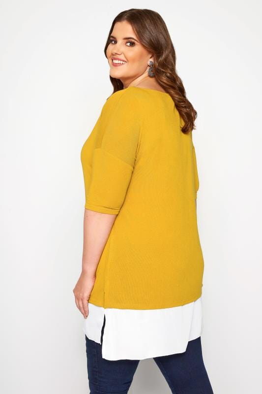 YOURS LONDON Mustard Double Layered Fine Knit Top