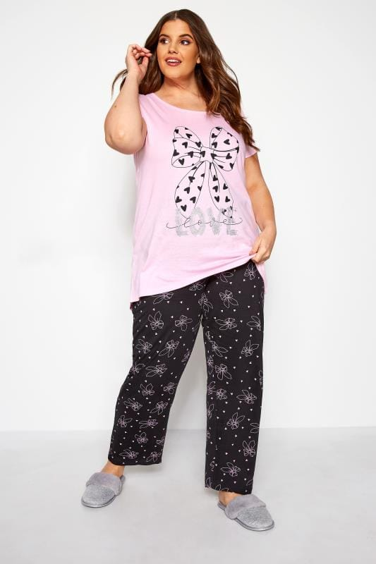 Plus Size Pyjamas Pink Sparkle Bow Pyjama Set