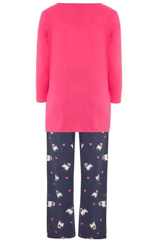 Donkerblauw-roze pyjama-set met 'Hug a pug' slogan