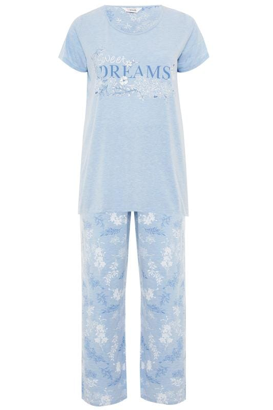Plus Size Pyjamas Blue Marl Glitter Sweet Dreams Pyjama Set