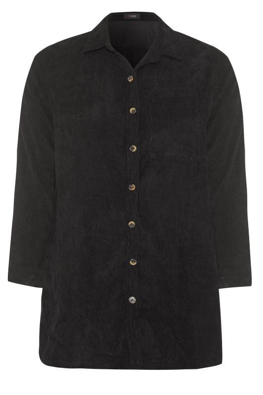 Plus Size  Black Cord Longline Shirt