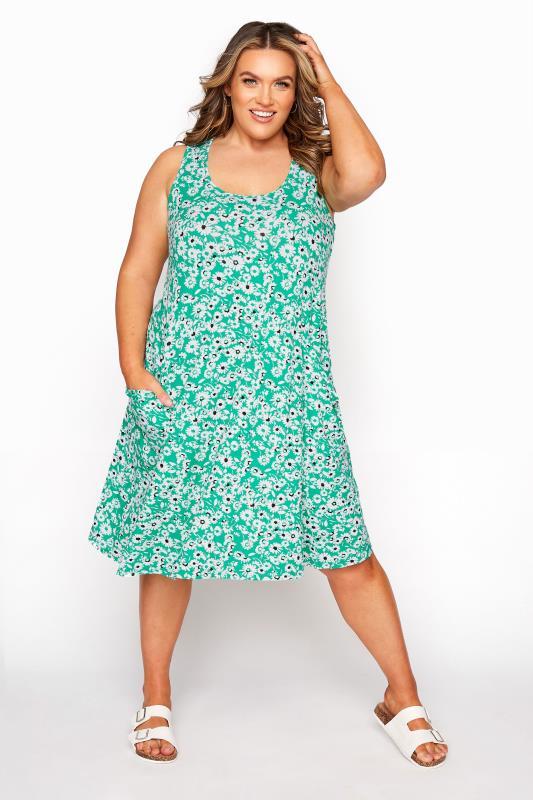Tallas Grandes Green Floral Sleeveless Drape Pocket Dress