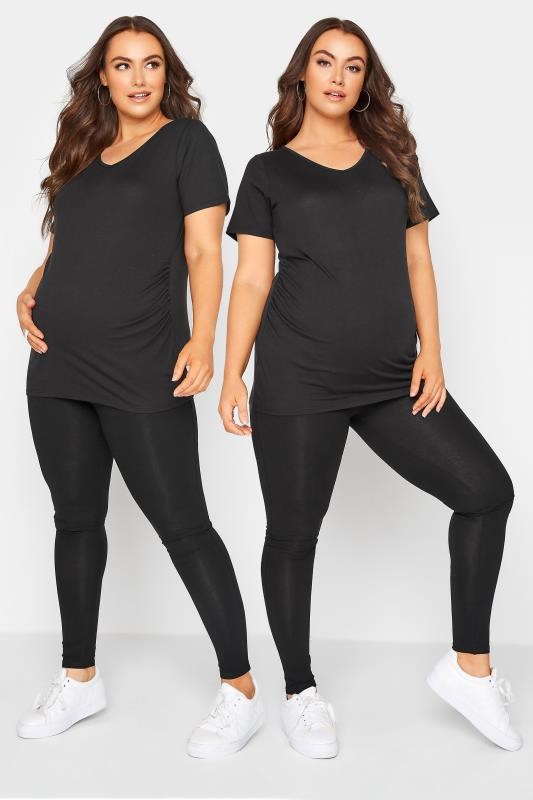 Plus Size  BUMP IT UP MATERNITY 2 Pack Black Essential Leggings With Comfort Panel