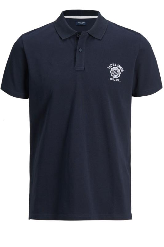 Plus Size  JACK & JONES Navy Flock Polo Shirt