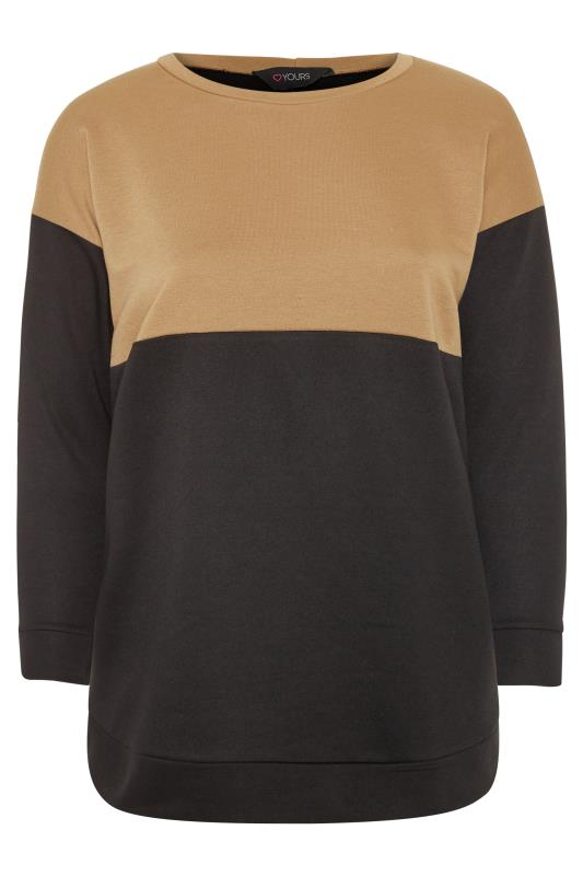 Camel & Black Colour Block Sweatshirt