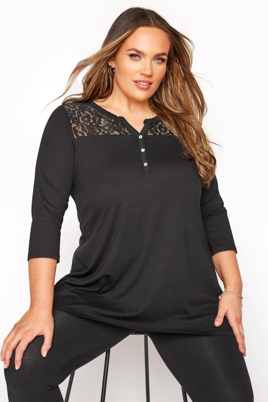 Black Lace Insert Placket Top