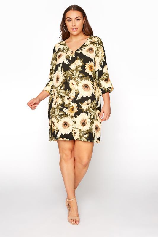 Black Sunflower V-Neck Shift Dress_B.jpg