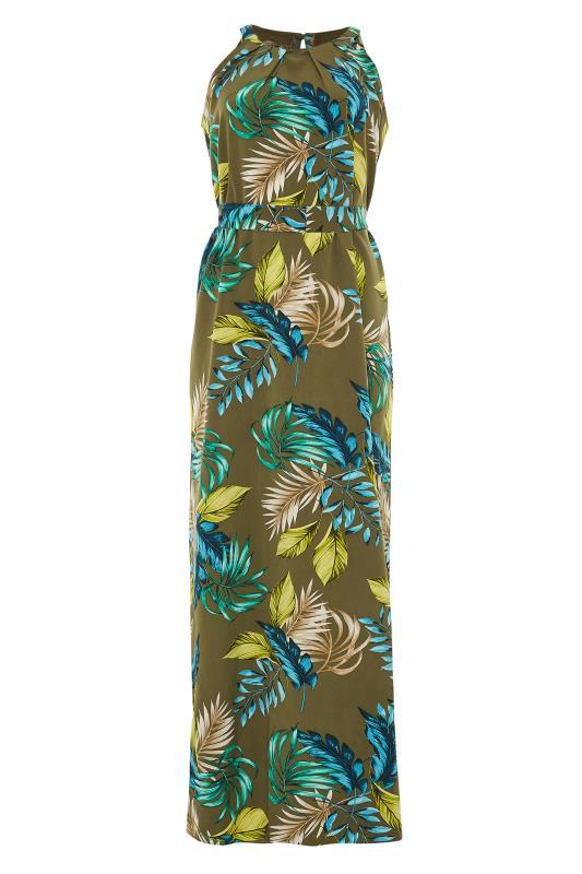 Khaki Leaf Print Halterneck Maxi Dress_F.jpg