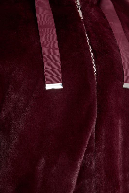 LTS Wine Red Oversized Faux Fur Jacket_S.jpg